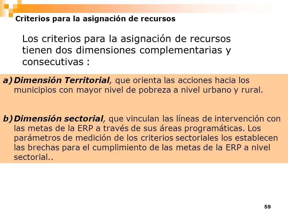 59 Criterios para la asignación de recursos Los criterios para la asignación de recursos tienen dos dimensiones complementarias y consecutivas : a)Dim