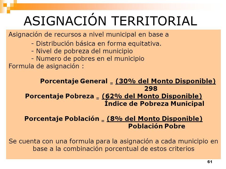 61 Asignación de recursos a nivel municipal en base a - Distribución básica en forma equitativa. - Nivel de pobreza del municipio - Numero de pobres e