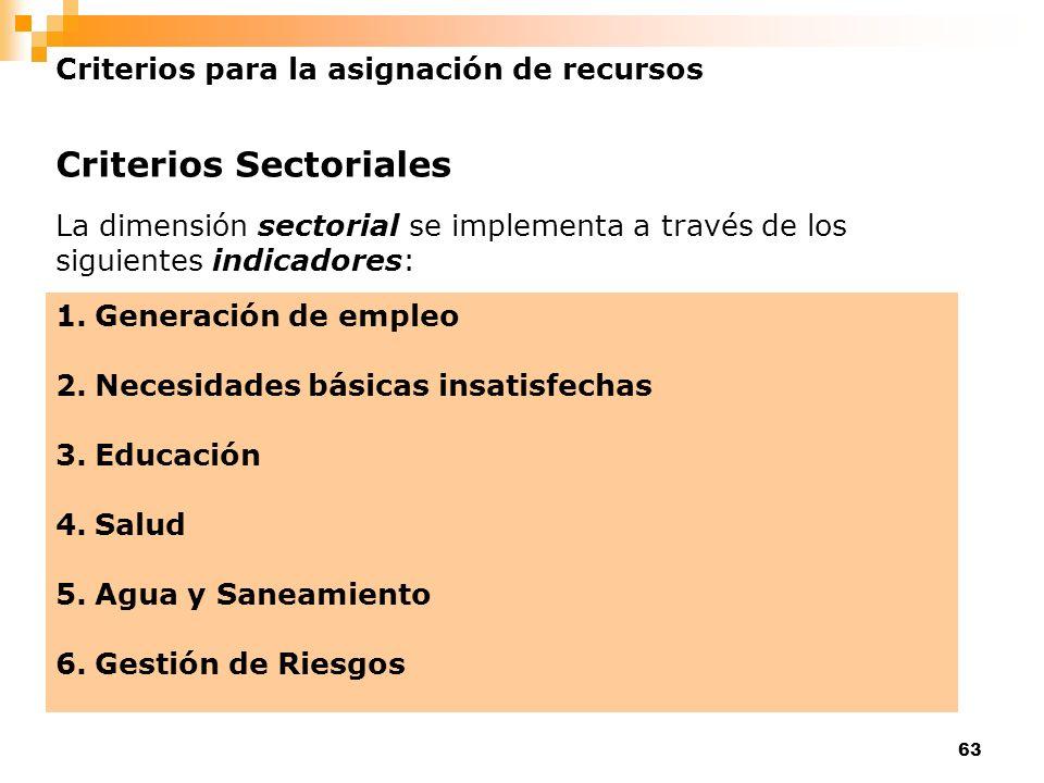 63 Criterios para la asignación de recursos Criterios Sectoriales La dimensión sectorial se implementa a través de los siguientes indicadores: 1.Gener