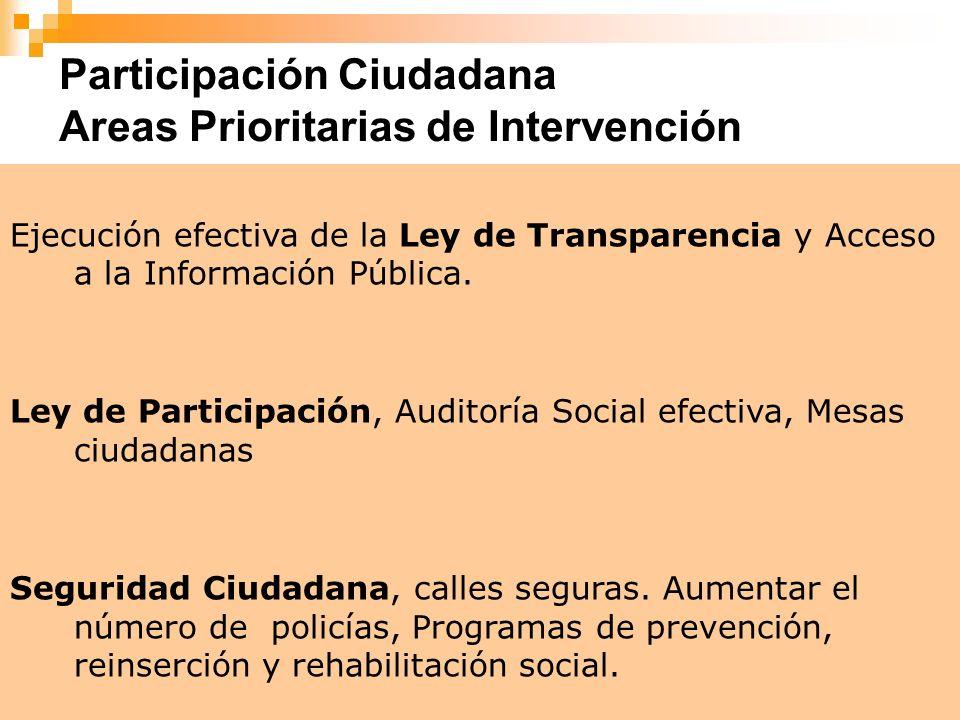 7 Ejecución efectiva de la Ley de Transparencia y Acceso a la Información Pública. Ley de Participación, Auditoría Social efectiva, Mesas ciudadanas S