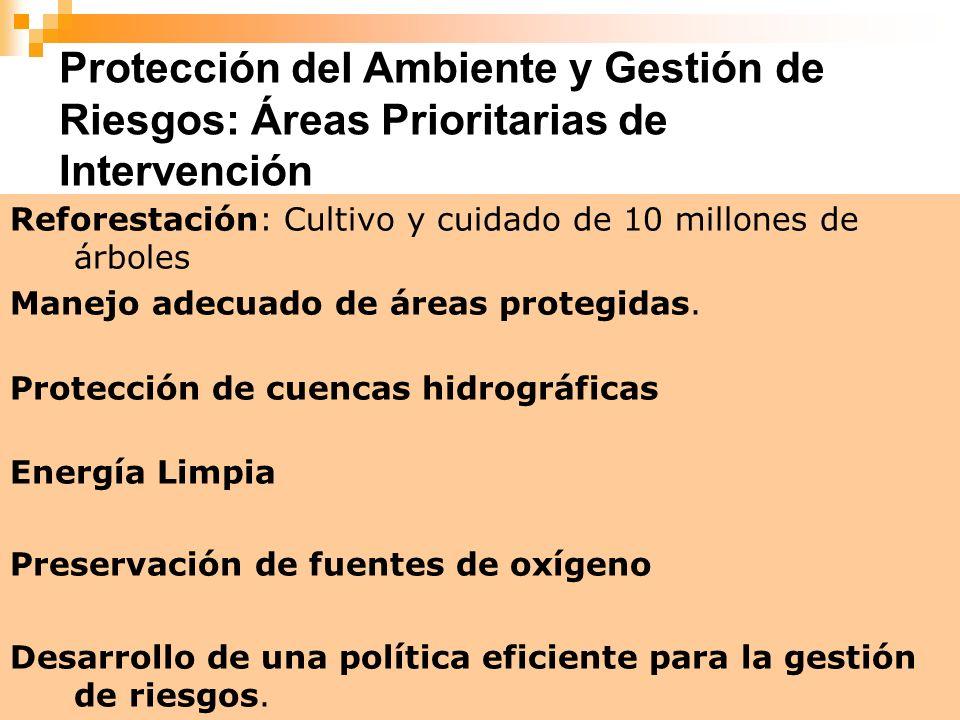 8 Protección del Ambiente y Gestión de Riesgos: Áreas Prioritarias de Intervención Reforestación: Cultivo y cuidado de 10 millones de árboles Manejo a