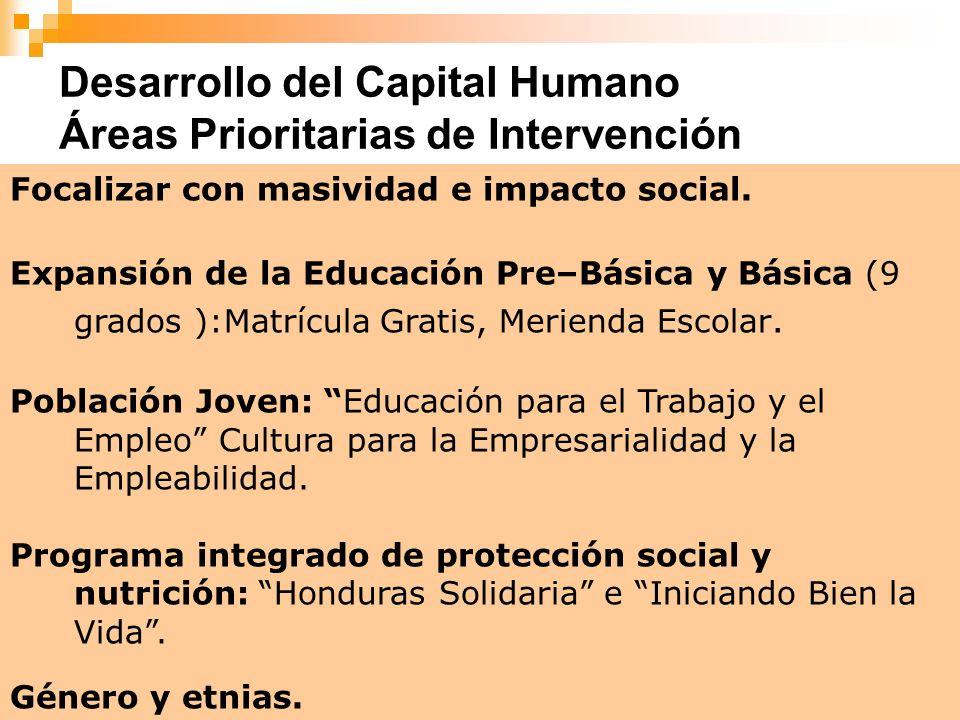 9 Desarrollo del Capital Humano Áreas Prioritarias de Intervención Focalizar con masividad e impacto social. Expansión de la Educación Pre–Básica y Bá