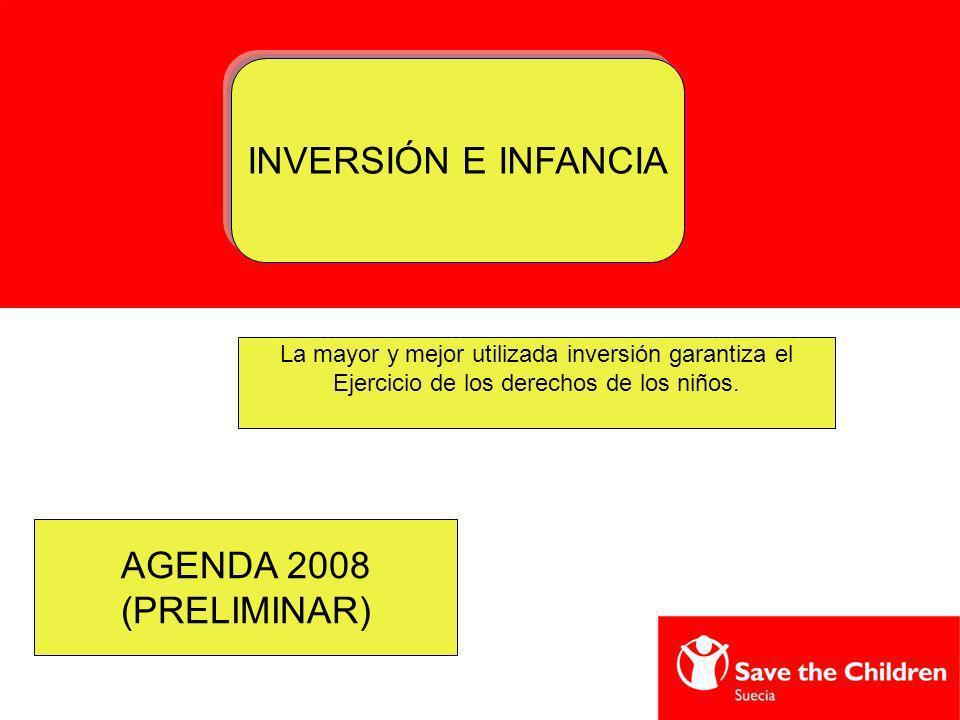 INVERSIÓN E INFANCIA La mayor y mejor utilizada inversión garantiza el Ejercicio de los derechos de los niños. AGENDA 2008 (PRELIMINAR)