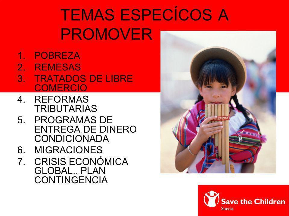 TEMAS ESPECÍCOS A PROMOVER 1.POBREZA 2.REMESAS 3.TRATADOS DE LIBRE COMERCIO 4.REFORMAS TRIBUTARIAS 5.PROGRAMAS DE ENTREGA DE DINERO CONDICIONADA 6.MIG