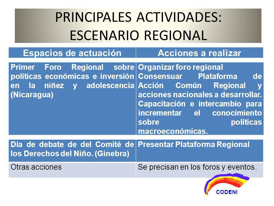 PRINCIPALES ACTIVIDADES: ESCENARIO REGIONAL Primer Foro Regional sobre políticas económicas e inversión en la niñez y adolescencia (Nicaragua) Organizar foro regional Consensuar Plataforma de Acción Común Regional y acciones nacionales a desarrollar.