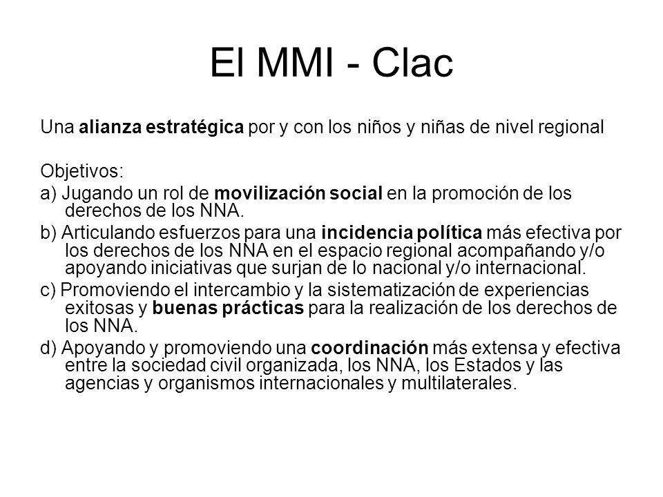 El MMI - Clac Una alianza estratégica por y con los niños y niñas de nivel regional Objetivos: a) Jugando un rol de movilización social en la promoción de los derechos de los NNA.