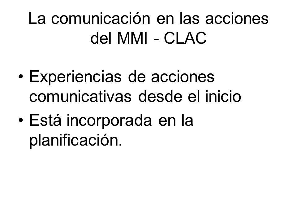 La comunicación en las acciones del MMI - CLAC Experiencias de acciones comunicativas desde el inicio Está incorporada en la planificación.