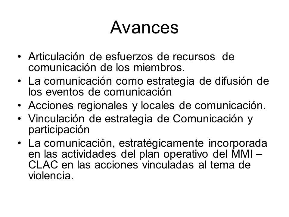 Avances Articulación de esfuerzos de recursos de comunicación de los miembros.