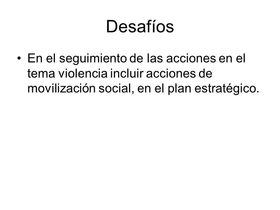 Desafíos En el seguimiento de las acciones en el tema violencia incluir acciones de movilización social, en el plan estratégico.