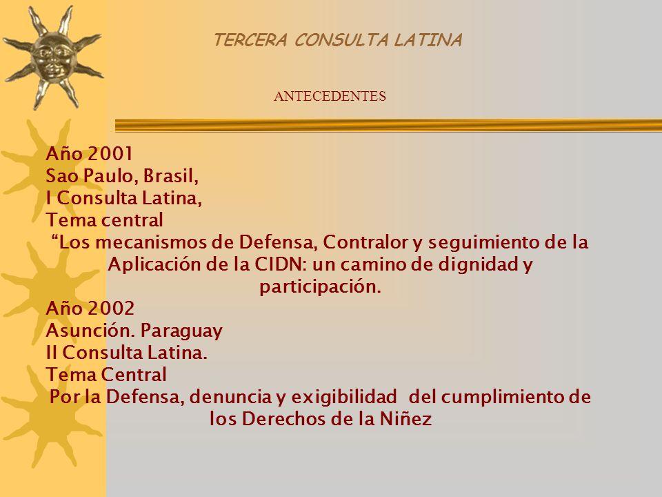 TERCERA CONSULTA LATINA Año 2001 Sao Paulo, Brasil, I Consulta Latina, Tema central Los mecanismos de Defensa, Contralor y seguimiento de la Aplicación de la CIDN: un camino de dignidad y participación.