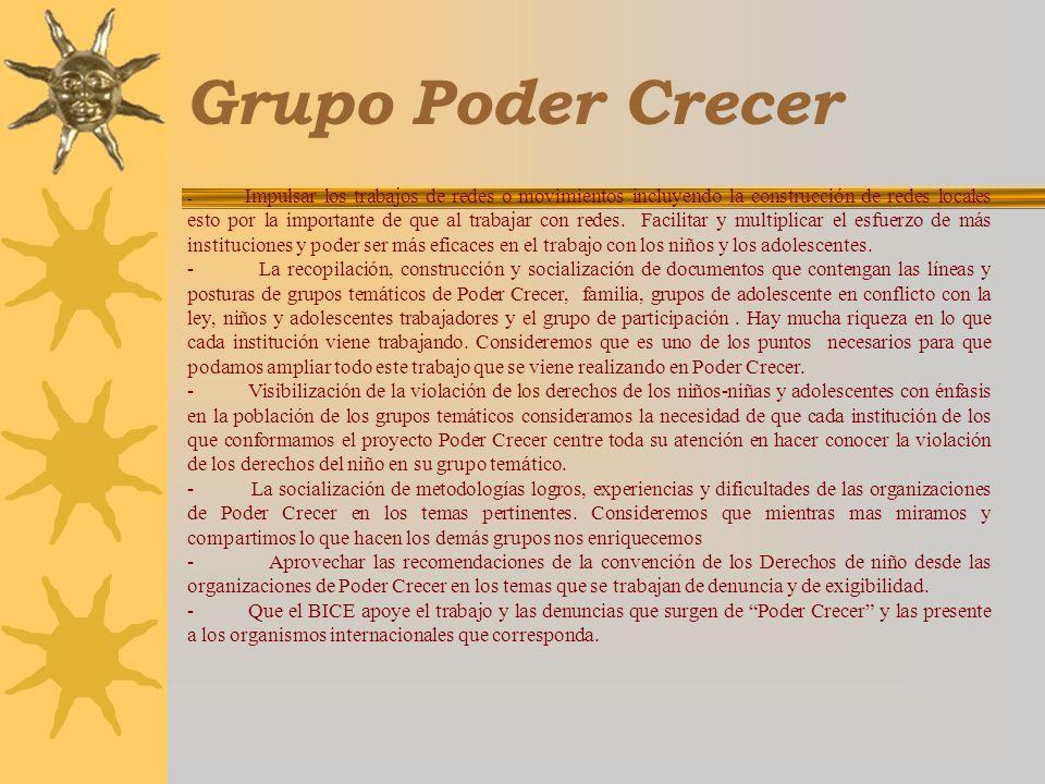 Grupo Poder Crecer - Impulsar los trabajos de redes o movimientos incluyendo la construcción de redes locales esto por la importante de que al trabaja