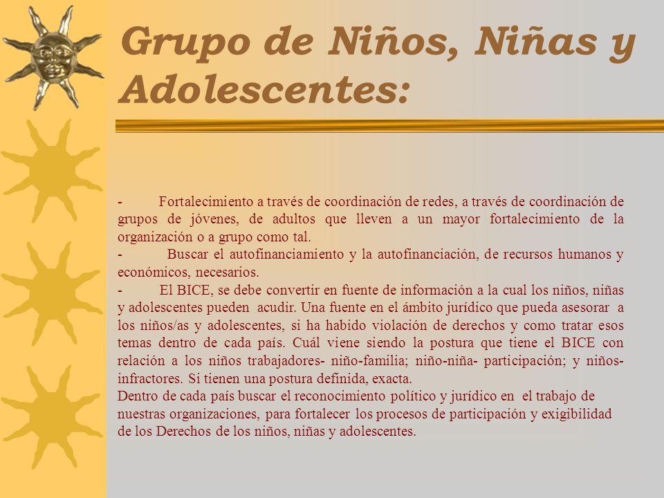 Grupo de Niños, Niñas y Adolescentes: - Fortalecimiento a través de coordinación de redes, a través de coordinación de grupos de jóvenes, de adultos que lleven a un mayor fortalecimiento de la organización o a grupo como tal.