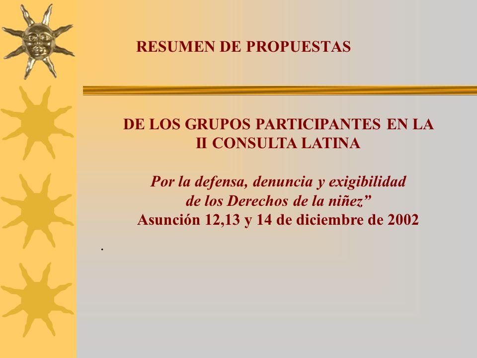 . DE LOS GRUPOS PARTICIPANTES EN LA II CONSULTA LATINA Por la defensa, denuncia y exigibilidad de los Derechos de la niñez Asunción 12,13 y 14 de diciembre de 2002 RESUMEN DE PROPUESTAS