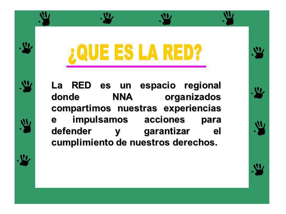 La RED es un espacio regional donde NNA organizados compartimos nuestras experiencias e impulsamos acciones para defender y garantizar el cumplimiento