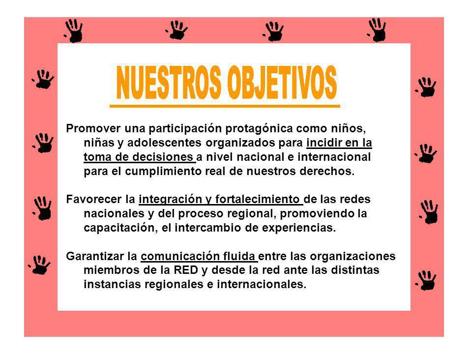 Promover una participación protagónica como niños, niñas y adolescentes organizados para incidir en la toma de decisiones a nivel nacional e internaci