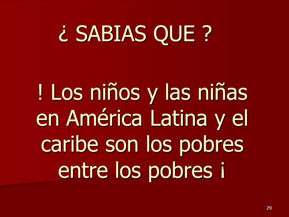 29 ¿ SABIAS QUE ? ! Los niños y las niñas en América Latina y el caribe son los pobres entre los pobres ¡ Jorge Oroza M Marzo 2007