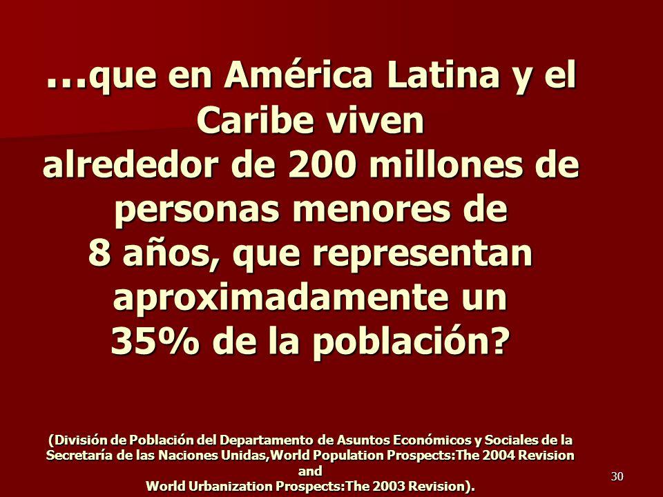 30 … que en América Latina y el Caribe viven alrededor de 200 millones de personas menores de 8 años, que representan aproximadamente un 35% de la pob