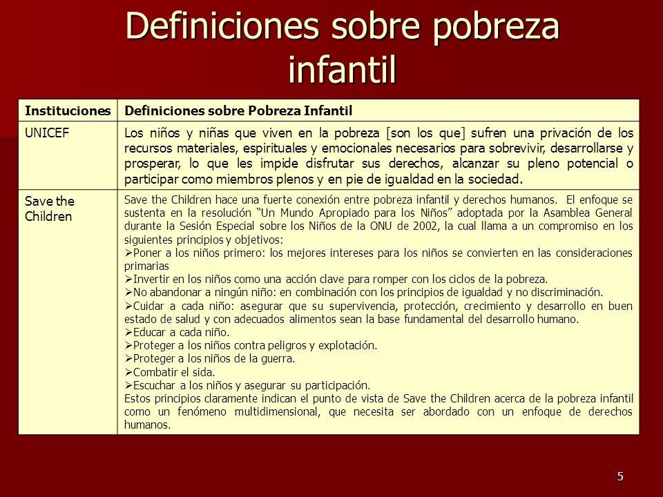 5 InstitucionesDefiniciones sobre Pobreza Infantil UNICEFLos niños y niñas que viven en la pobreza [son los que] sufren una privación de los recursos