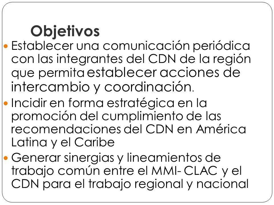 Objetivos Establecer una comunicación periódica con las integrantes del CDN de la región que permita establecer acciones de intercambio y coordinación.