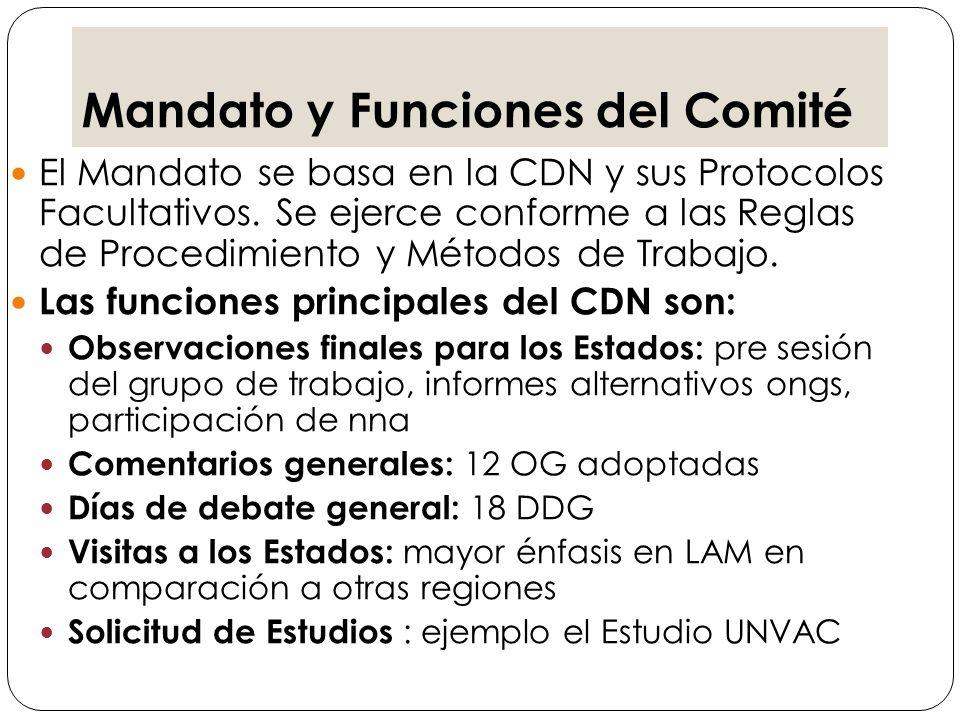 Observaciones finales/Recomendaciones Comentarios Generales Visitas de la integrantes del CDN a los países.