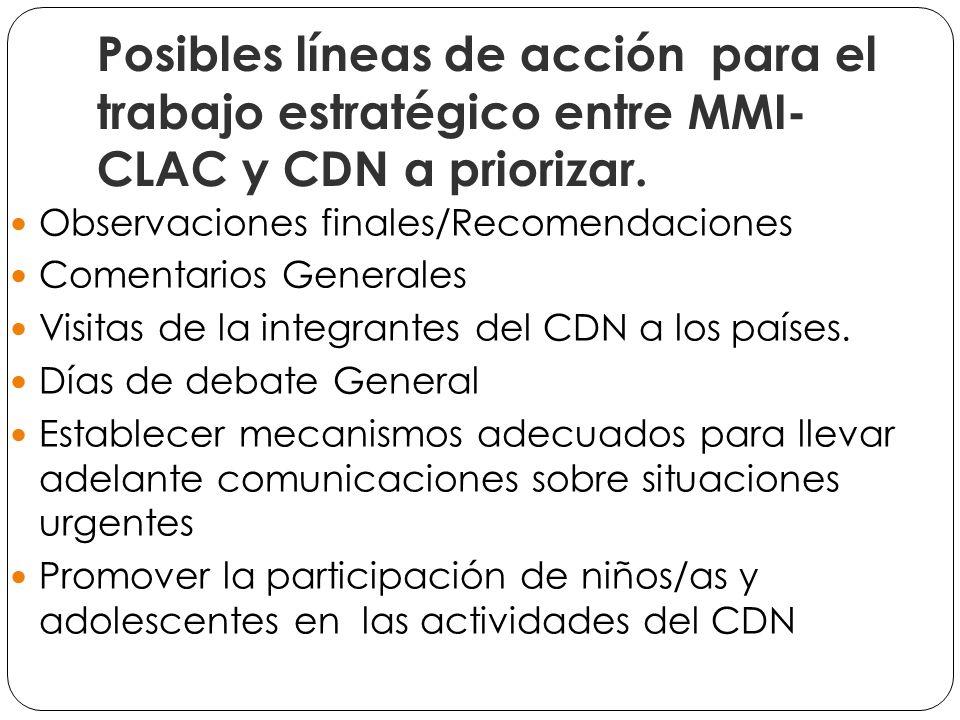 Promover y movilizar a los actores nacionales en la Elaboración de informes alternativos en el marco de las Observaciones finales para los Estados.