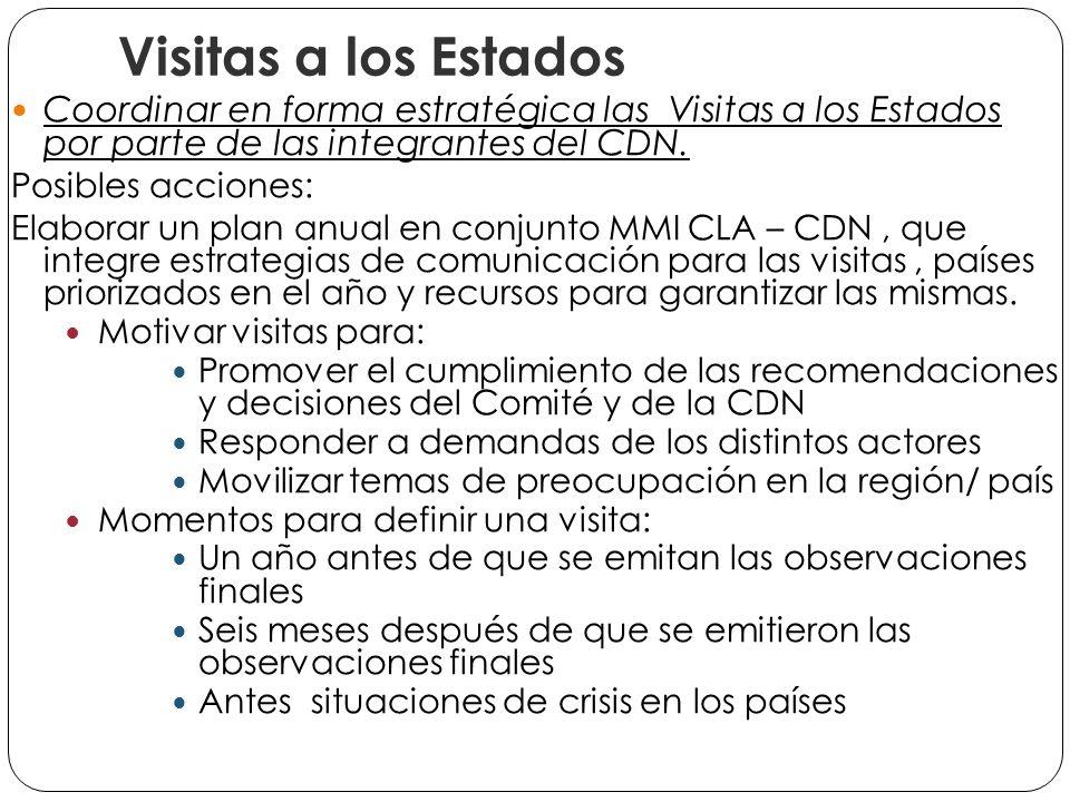 Visitas a los Estados Coordinar en forma estratégica las Visitas a los Estados por parte de las integrantes del CDN.