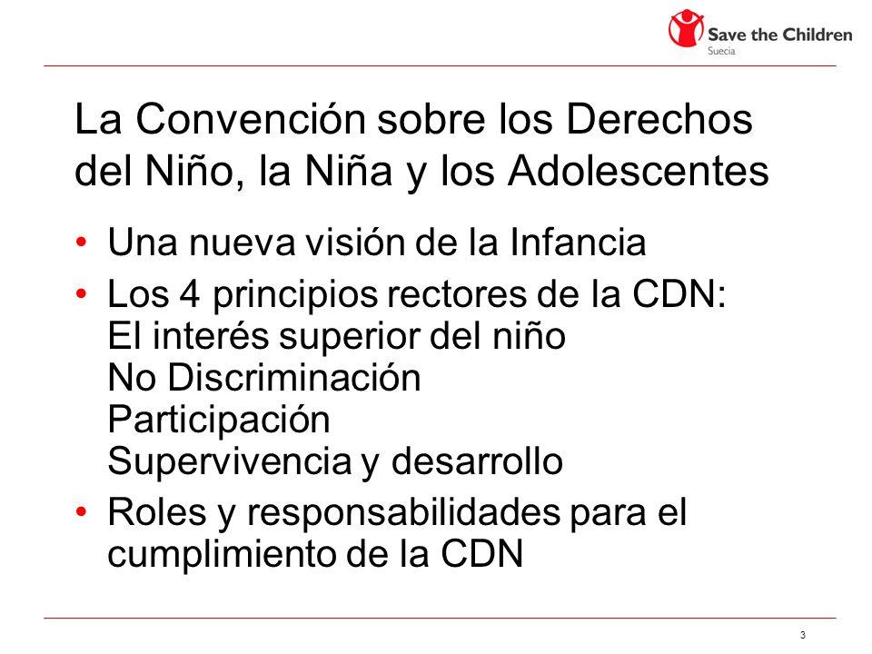3 La Convención sobre los Derechos del Niño, la Niña y los Adolescentes Una nueva visión de la Infancia Los 4 principios rectores de la CDN: El interé