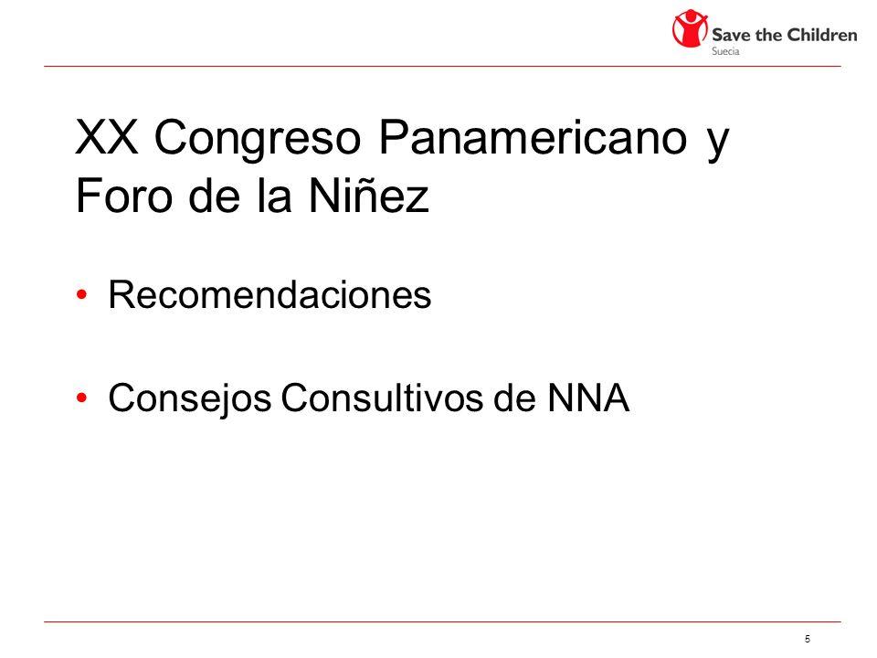 5 XX Congreso Panamericano y Foro de la Niñez Recomendaciones Consejos Consultivos de NNA