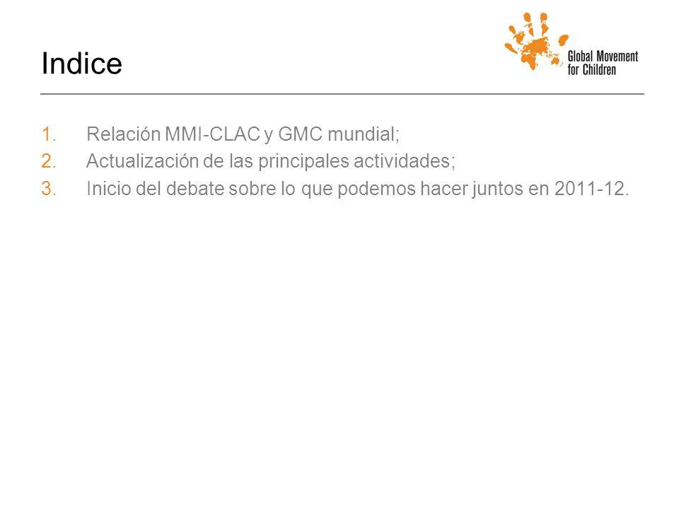 Indice 1.Relación MMI-CLAC y GMC mundial; 2.Actualización de las principales actividades; 3.Inicio del debate sobre lo que podemos hacer juntos en 2011-12.