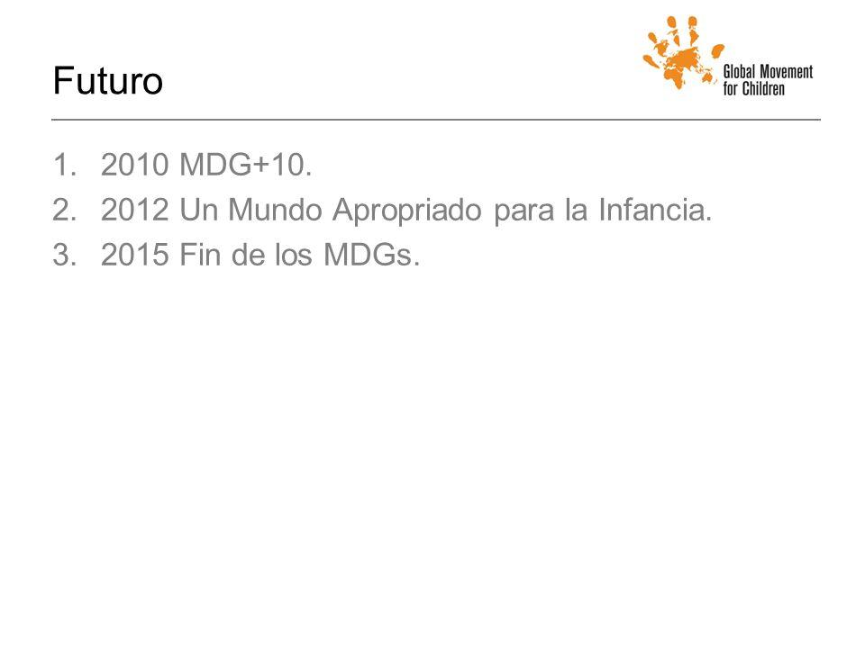 Futuro 1.2010 MDG+10. 2.2012 Un Mundo Apropriado para la Infancia. 3.2015 Fin de los MDGs.
