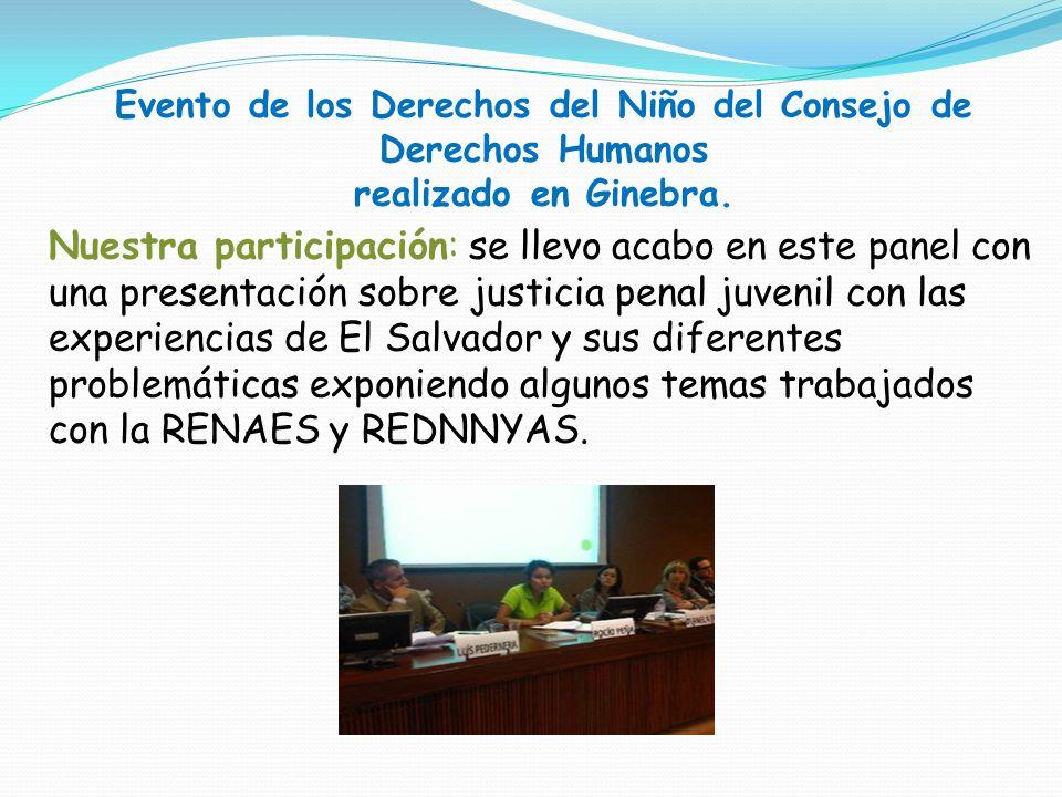 Evento de los Derechos del Niño del Consejo de Derechos Humanos realizado en Ginebra. Nuestra participación: se llevo acabo en este panel con una pres