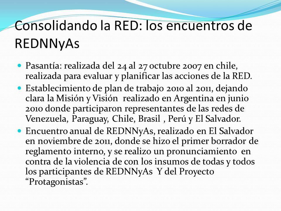 Consolidando la RED: los encuentros de REDNNyAs Pasantía: realizada del 24 al 27 octubre 2007 en chile, realizada para evaluar y planificar las accion