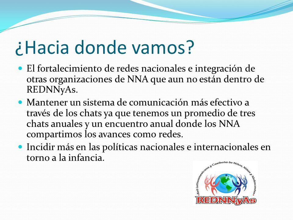 ¿Hacia donde vamos? El fortalecimiento de redes nacionales e integración de otras organizaciones de NNA que aun no están dentro de REDNNyAs. Mantener