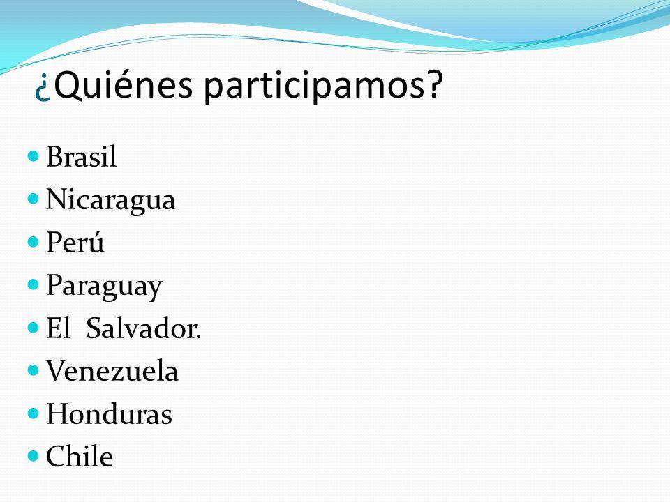 ¿Quiénes participamos? Brasil Nicaragua Perú Paraguay El Salvador. Venezuela Honduras Chile
