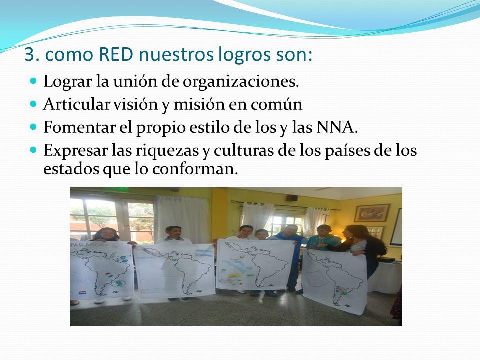 3. como RED nuestros logros son: Lograr la unión de organizaciones. Articular visión y misión en común Fomentar el propio estilo de los y las NNA. Exp