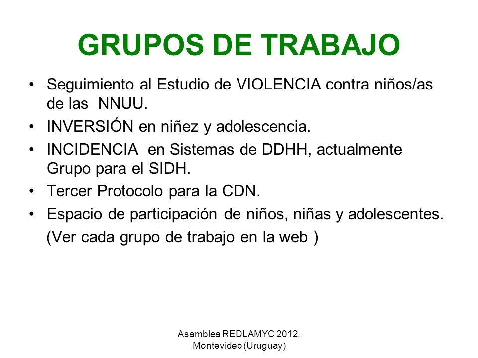 GRUPOS DE TRABAJO Seguimiento al Estudio de VIOLENCIA contra niños/as de las NNUU. INVERSIÓN en niñez y adolescencia. INCIDENCIA en Sistemas de DDHH,