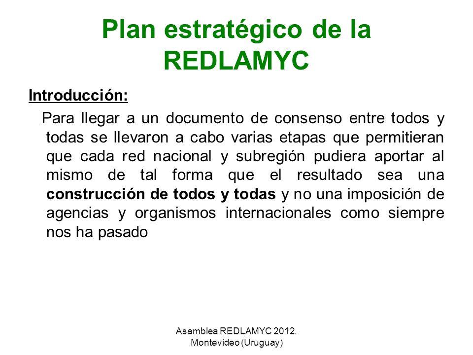 Plan estratégico de la REDLAMYC Introducción: Para llegar a un documento de consenso entre todos y todas se llevaron a cabo varias etapas que permitie