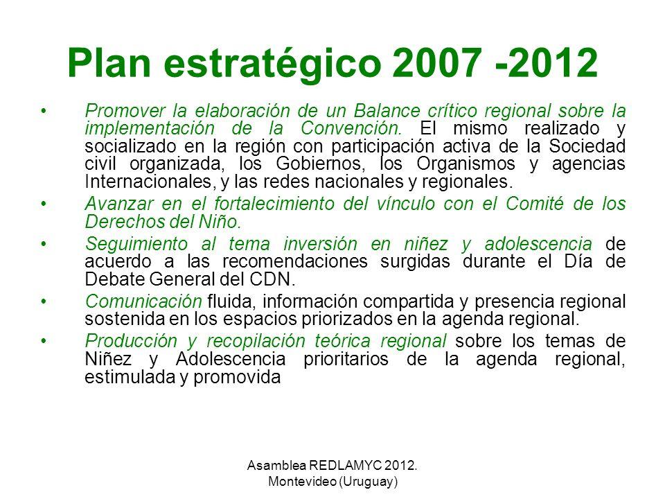 Plan estratégico 2007 -2012 Promover la elaboración de un Balance crítico regional sobre la implementación de la Convención. El mismo realizado y soci