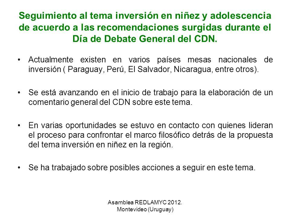 Seguimiento al tema inversión en niñez y adolescencia de acuerdo a las recomendaciones surgidas durante el Día de Debate General del CDN. Actualmente