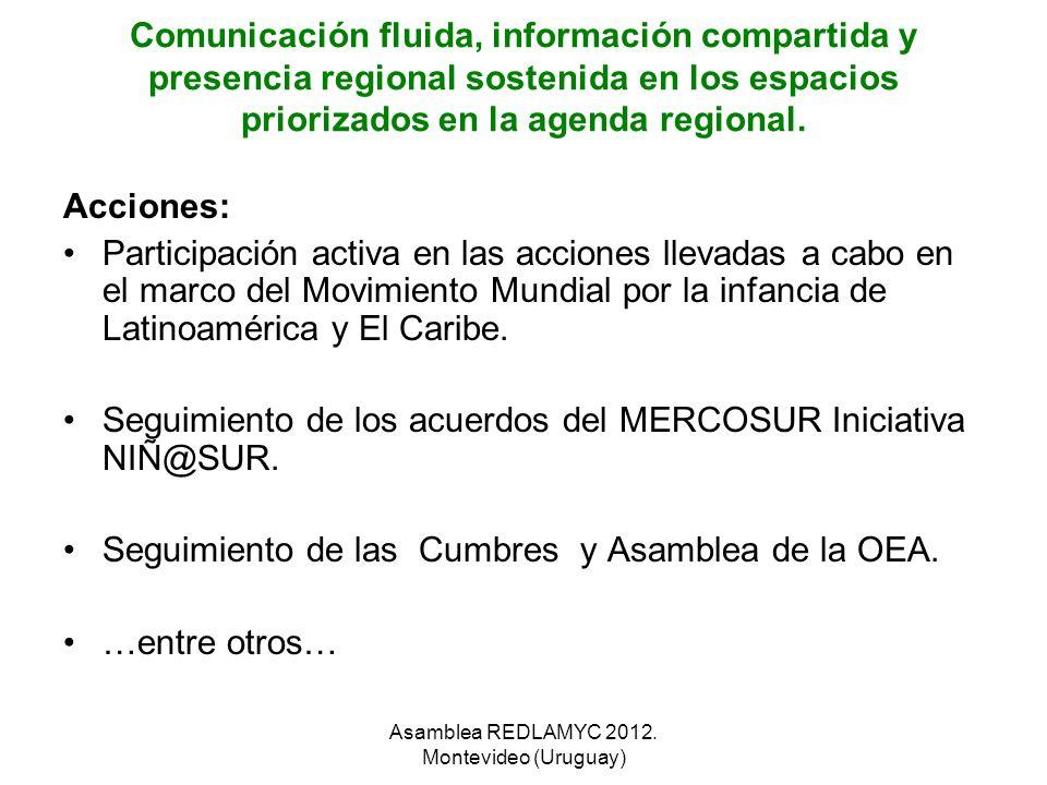 Comunicación fluida, información compartida y presencia regional sostenida en los espacios priorizados en la agenda regional. Acciones: Participación