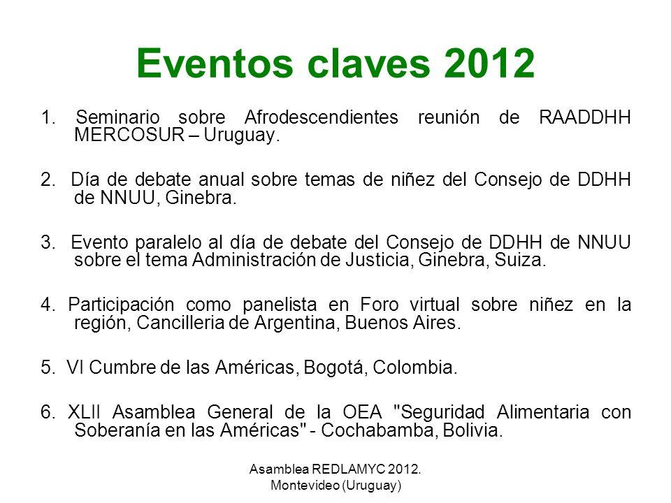 Eventos claves 2012 1. Seminario sobre Afrodescendientes reunión de RAADDHH MERCOSUR – Uruguay. 2. Día de debate anual sobre temas de niñez del Consej