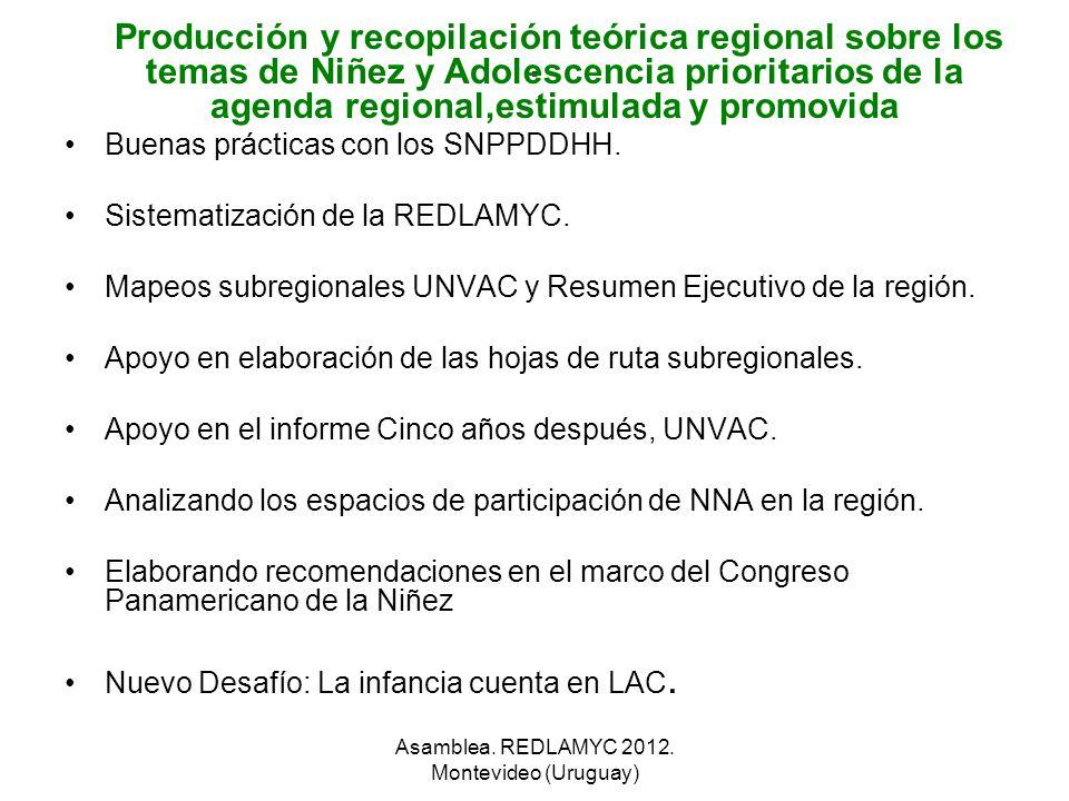 . Producción y recopilación teórica regional sobre los temas de Niñez y Adolescencia prioritarios de la agenda regional,estimulada y promovida Buenas