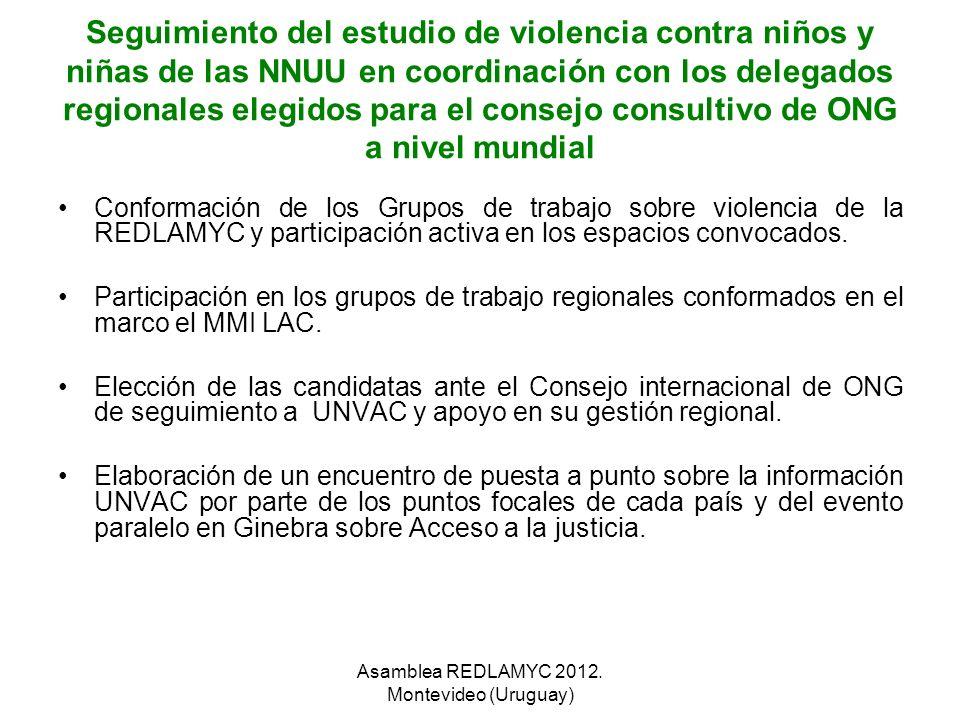 Seguimiento del estudio de violencia contra niños y niñas de las NNUU en coordinación con los delegados regionales elegidos para el consejo consultivo