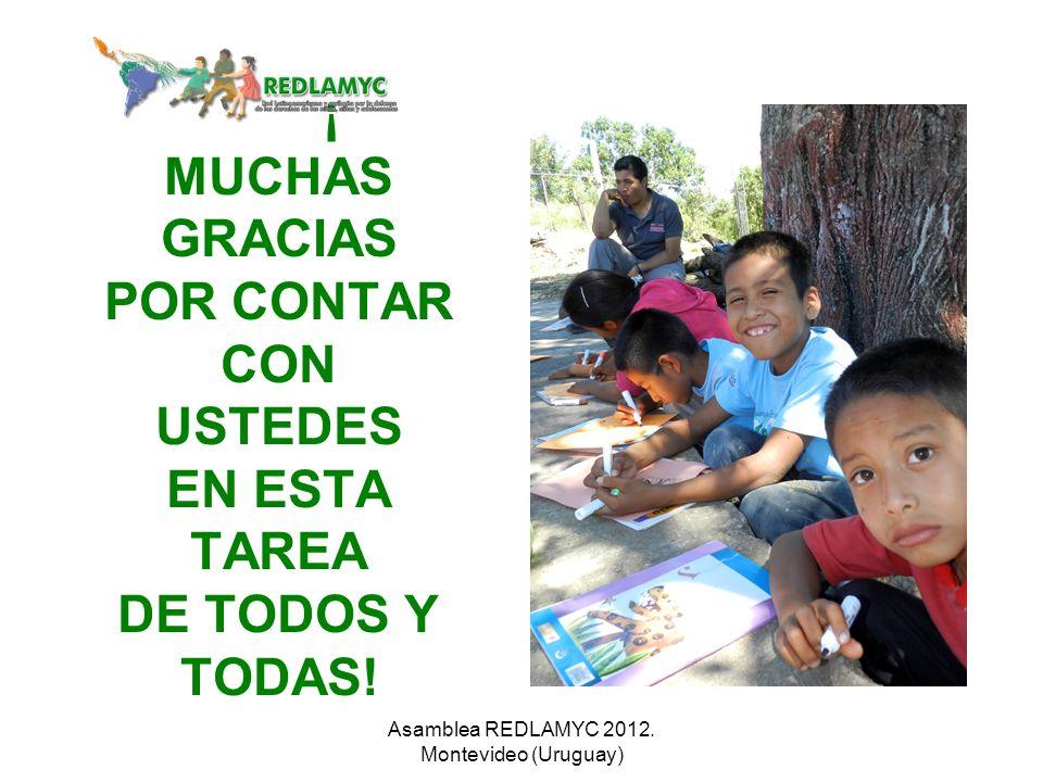 ¡ MUCHAS GRACIAS POR CONTAR CON USTEDES EN ESTA TAREA DE TODOS Y TODAS! Asamblea REDLAMYC 2012. Montevideo (Uruguay)