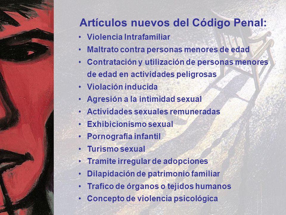 Artículos nuevos del Código Penal: Violencia Intrafamiliar Maltrato contra personas menores de edad Contratación y utilización de personas menores de
