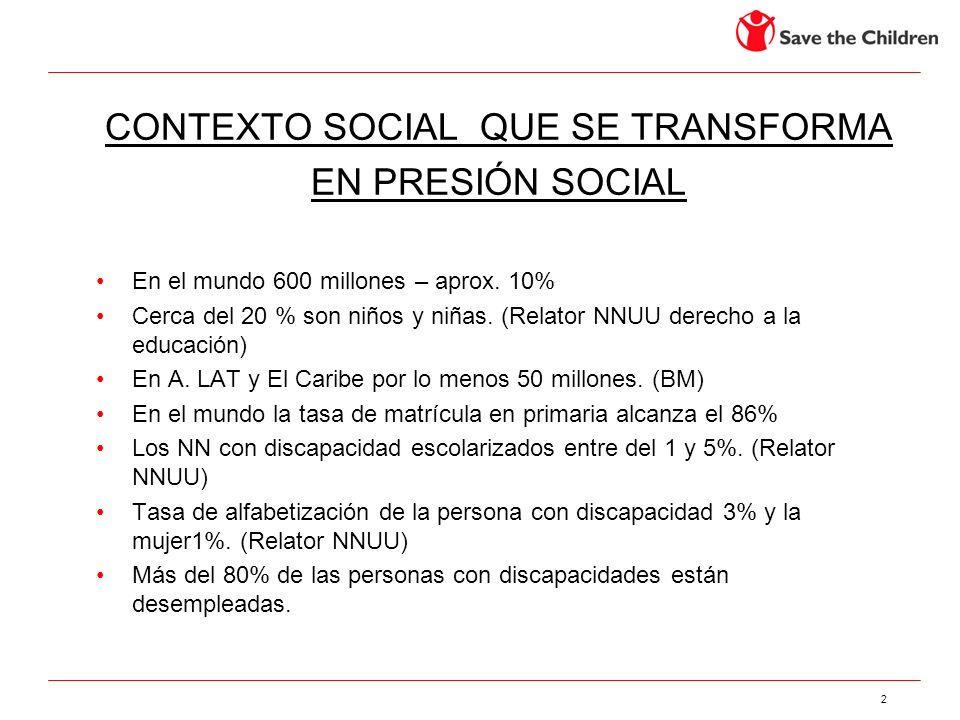 2 CONTEXTO SOCIAL QUE SE TRANSFORMA EN PRESIÓN SOCIAL En el mundo 600 millones – aprox. 10% Cerca del 20 % son niños y niñas. (Relator NNUU derecho a