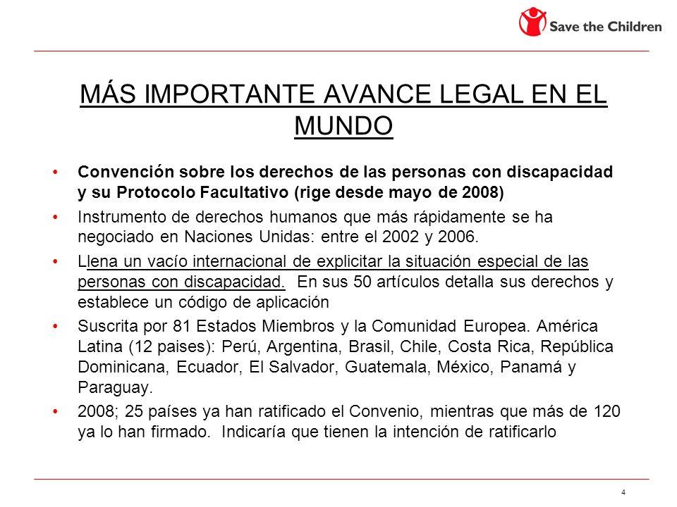 4 MÁS IMPORTANTE AVANCE LEGAL EN EL MUNDO Convención sobre los derechos de las personas con discapacidad y su Protocolo Facultativo (rige desde mayo d