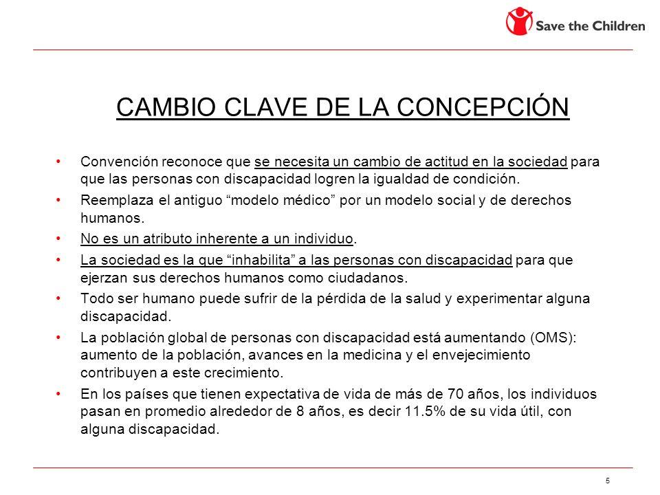 5 CAMBIO CLAVE DE LA CONCEPCIÓN Convención reconoce que se necesita un cambio de actitud en la sociedad para que las personas con discapacidad logren