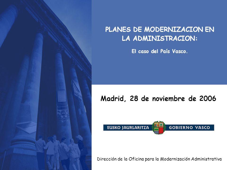 Dirección de la Oficina para la Modernización Administrativa Madrid, 28 de noviembre de 2006 PLANES DE MODERNIZACION EN LA ADMINISTRACION: El caso del