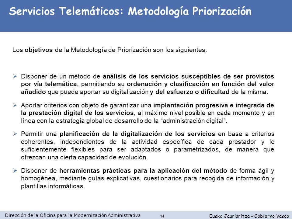 Dirección de la Oficina para la Modernización Administrativa Eusko Jaurlaritza – Gobierno Vasco 14 Los objetivos de la Metodología de Priorización son